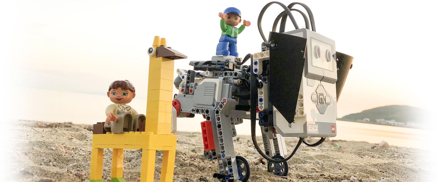 津屋崎の海でロボット